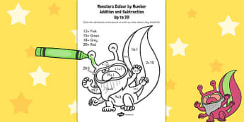 Monsters Colour by Number Addition and Subtraction Up to 20
