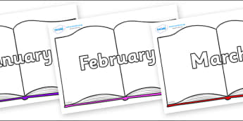 Months of the Year on Books - Months of the Year, Months poster, Months display, display, poster, frieze, Months, month, January, February, March, April, May, June, July, August, September
