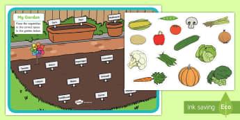 My Garden Activity - Earth Day, Grade 1, Grade 2, Grade 3, Healthy Food, Garden, Vegetables, Spelling, the environment.