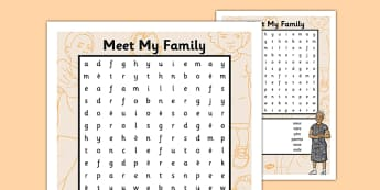 French Meet My Family Word Search - french, meet my family, meet, family, word search