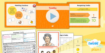 PlanIt Y3 Fractions Lesson Pack Recognise and Count in Tenths - Fractions, tenths, count in fractions, count in tenths, tenths number line, fraction number line, decimals, decimal tenths