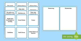 Democracy or Dictatorship Sorting Cards - democracy, dictatorship, sorting cards, scottish politics, government, politics,Scottish