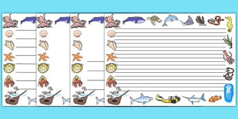 Under the Sea Page Borders (Landscape) - page border, border, frame, writing frame, under the sea, under the sea borders, under the sea writing frames, writing template, writing aid, writing, A4 page, page edge, writing activities, lined page, lined