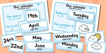Weather Calendar Romanian Translation - romanian, translation
