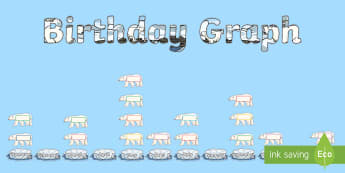 Polar Bear Themed Birthday Graph Display Pack - polar, arctic, ice, snow, bear, winter, Christmas, Xmas, maths, pictogram, graph, chart