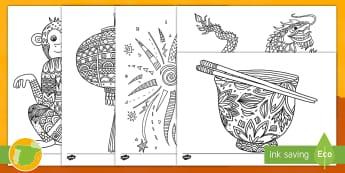Hojas de colorear: Año Nuevo Chino - Mindfulness - china, cultura, relax, relajarse, mono, linterna, fuegos artificiales, ,Spanish