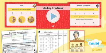 PlanIt Y3 Fractions Lesson Pack Add and Subtract Fractions (1) - Fractions, add fractions, adding fractions, total