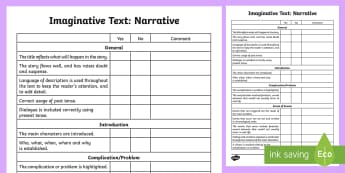 Imaginative Text: Narrative Assessment Checklist - Literacy, Imaginative Text Narrative  Assessment Tracker Australian, imaginative assessment grid, na