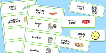 Three Syllable SM Word Cards - speech sounds, phonology, articulation, speech therapy, cluster reduction, clusters, blends