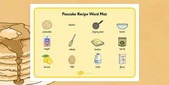 Pancake Recipe Word Mat - pancake, recipe, word mat, keywords