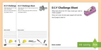 DIY Challenge Sheets - D.I.Y, role play, do it yourself, challenge, sheet, worksheets, building, home, home improvement, hammer, saw, nails