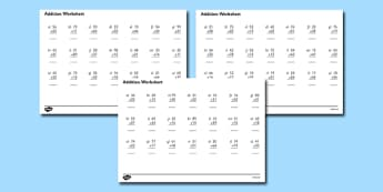 2 Digit Addition Activity Sheet - addition worksheets, addition, adding, 2 digit addition worksheets, sums worksheets, addition sums worksheet