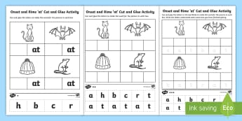 'at' Onset and Rime Differentiated Activity Sheets - EYLF, Literacy, phonological awareness, onset and rime, cvc words, Worksheets, english, kindergarten