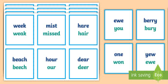 Homophones Explanation Cards  - oral language, homophones, explanations, word meanings, spellings, card game,Irish
