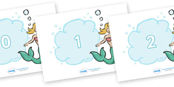 Numbers 0-50 on Mermaids - 0-50, foundation stage numeracy, Number recognition, Number flashcards, counting, number frieze, Display numbers, number posters