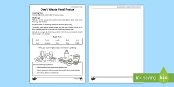 Don't Waste Food Poster Activity Sheet - amazing fact august, saving food, KS1, amazing fact, science, geography, worksheet