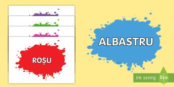 Culori Planșe cu vocabular - suprot vizual, culoare, activități plastice, culori primare,Romanian