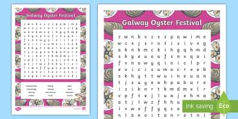 The Galway International Oyster Festival Word Search - ROI, irish festivals, celebrations, tradition, regional, sea food, ,Irish