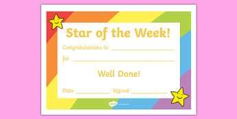Star of the Week Award Certificate - Star of the week, certificate, foundation, good behaviour award, behaviour management, behaviour reward