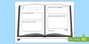 Buchkritik Arbeitsblatt - Buchrezension, Lesen, Lektüre, Druckschrift, Schreibschrift,