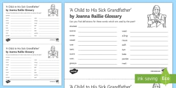 'A Child To His Sick Grandfather' by Joanna Baillie Glossary - Poetry analysis, poetry exploration, GCSE English Literature, GCSE Poetry, poetry anthology, Joanna