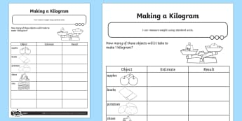 Making a Kilogram Activity Sheet - Measurement, grams, kilograms, standard units, measure, weight, weigh, worksheet, measure, measuring