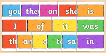 100 High Frequency Words on Multicoloured Bricks - hfw, display
