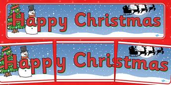 Christmas Display Banner (Happy Christmas) - Christmas, xmas, display banner, Happy Christmas, tree, advent, nativity, santa, father christmas, Jesus, tree, stocking, present, activity, cracker, angel, snowman, advent , bauble