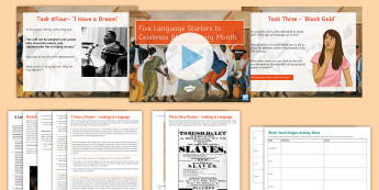 5 Language Starters Lesson Pack to Support Teaching on Black History Month - Black history month, BHM, Barack Obama, Martin Luther King jr, speeches, black history, black litera