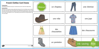 Clothing Card Game French - French Games, french clothing, french clothes, self-correcting games, solo french games, french inde