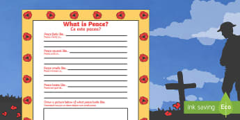 Remembrance Day What Is Peace Writing Frame English/Romanian