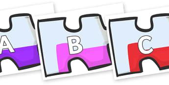 A-Z Alphabet on Jigsaw Pieces - A-Z, A4, display, Alphabet frieze, Display letters, Letter posters, A-Z letters, Alphabet flashcards