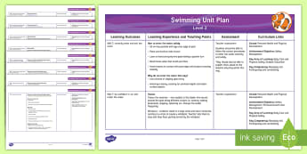 Level 2 Swimming Unit Overview - swimming, physical education, aquatics, swim, level 2, overview, water safety, float, breaststroke,