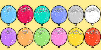 Editable Month Balloons Word German Translation - german, editable, month, balloons, display