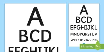 Sehtesttafel Poster für die Klassenraumgestaltung - Doctors Surgery Eye Chart - Doctors surgery role play, doctor, nurse, surgery, role play, doctors ro