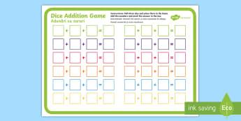 Three Dice Addition Game English/Romanian - Three Dice Addition Game - +, addition, game, add, activity, EAL, worksheet