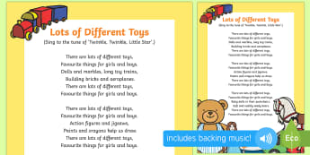 Lots of Different Toys Song - EYFS, Early Years, Toys, toy shop, teddies, teddy bear, toy songs
