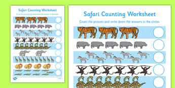 My Counting Worksheet Safari Themed - counting, worksheet, count, safari, themed