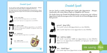 Chanukka Dreidel Spiel - Hanukkah, Judentum, Juden, jüdisch, Religion, Religionsunterricht, Ethik, ,German