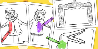 Punch and Judy Colouring Sheets - colouring, sheets, punch, judy