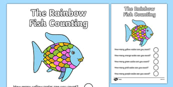 Themed Scales Counting Worksheet to Support Teaching on Rainbow Fish - under the sea, the rainbow fish, rainbow fish, rainbow fish counting, rainbow fish numeracy, counting