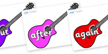KS1 Keywords on Guitars - KS1, CLL, Communication language and literacy, Display, Key words, high frequency words, foundation stage literacy, DfES Letters and Sounds, Letters and Sounds, spelling