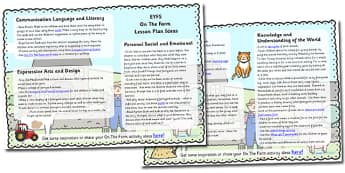 On The Farm Lesson Plan Ideas EYFS - farm, lesson ideas, plans