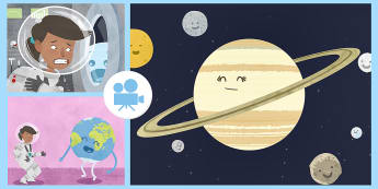 The Girl Who Went to Space Animation - planets, astronauts, Earth, Sun, Mars, Mercury,