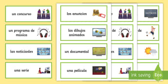 TV Programmes Spanish Word Cards - Spanish, Vocabulary, topics, TV, television, programmes, free, time, activities, series, news, sport