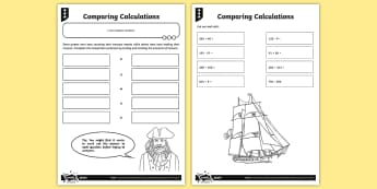 Comparing Calculations Activity Sheet - Number and Place Value, problem solving, maths mastery, year 3, fun maths, hundreds, tens, ones, num