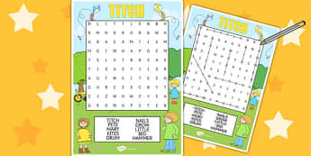 Word Search to Support Teaching on Titch - word search, word games, stories, books, read