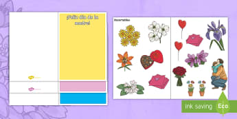 Design a Mother's Day Card - Spanish - Spanish, KS2, vocabulary, mother's, day, design, your, own, template, card, blank, craft, Festivals