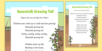 Beanstalk Growing Tall Song - Jack, Jack and the Beanstalk, beans, nursery rhymes, rhyme