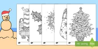 Christmas-Themed Mindfulness Colouring Pages English/Afrikaans - December, celebration, presents, santa, Desember, geskenke, EAL
